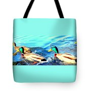 Some Ducks Are Just Happily Swimming With Their Team  Tote Bag