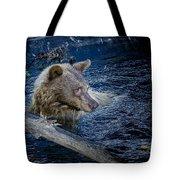 Black Bear On Blue Tote Bag