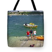 Swimmers On The Slipway - St Mawes Tote Bag