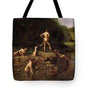 Swimming Tote Bag by Thomas Eakins