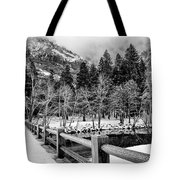 Swinging Bridge In Winter Tote Bag