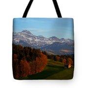 Swiss Alpine Scene Tote Bag
