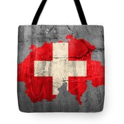 Switzerland Flag Country Outline Painted On Old Cracked Cement Tote Bag