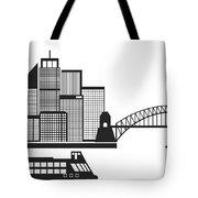 Sydney Australia Skyline Black And White Illustration Tote Bag