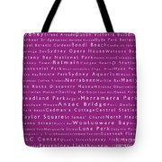 Sydney In Words Pink Tote Bag