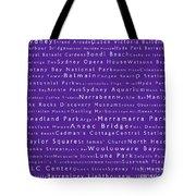 Sydney In Words Purple Tote Bag