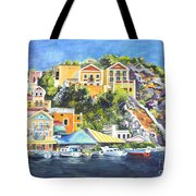 Symi Harbor The Grecian Isle  Tote Bag by Carol Wisniewski