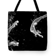 Synchronized Swimmers Against Black Tote Bag