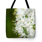 Syrphid Feeding On Alliium Blossom Tote Bag