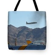 T-33 Shooting Star Flight Over Two Sabre's Tote Bag