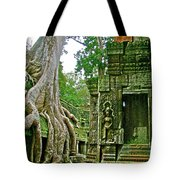 Ta Prohm And Tree Invasion In Angkor Wat Archeologial Park Near Siem Reap-cambodia Tote Bag