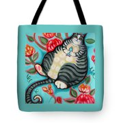 Tabby Cat On A Cushion Tote Bag