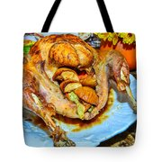 Table Set Up Before Thanksgiving Dinner Tote Bag