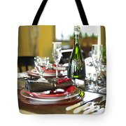 Table Setting With Red And White Tote Bag