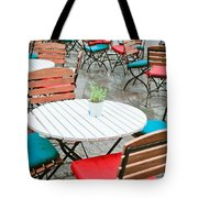 Tables And Chairs Tote Bag by Tom Gowanlock