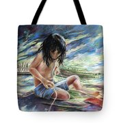 Tahitian Boy With Knife Tote Bag