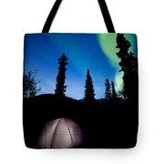 Taiga Tent Illuminated Under Northern Lights Flare Tote Bag