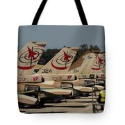 Tail Fins Of Israeli Air Force F-16`s Tote Bag