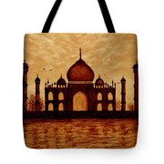 Taj Mahal Lovers Dream Original Coffee Painting Tote Bag