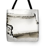 Take A Seat  And Chill Out - Park Bench - Winter - Snow Storm Bw 2 Tote Bag