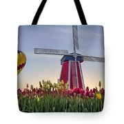 Taking Off At Tulip Field Tote Bag