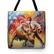 Taking On The Wall Street Bull Tote Bag