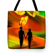 Taking The Butterflies Road - Fantasy Painting By Giada Rossi Tote Bag by Giada Rossi