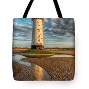Talacre Lighthouse Sunset Tote Bag