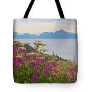 Tall Fireweed And Cow Parsnip Over Cook Inlet Near Homer- Ak Tote Bag