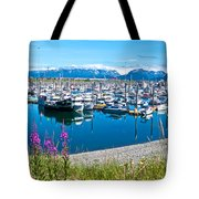 Tall Fireweed By The Marina Along Homer Spit-ak  Tote Bag