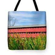 Tall Grass And Sachs Covered Bridge Tote Bag