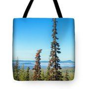 Tall Pine Trees And Hilly Background Tote Bag