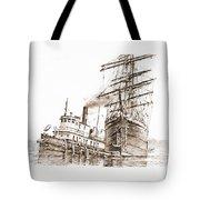 Tall Ship Assist Sepia Tote Bag