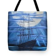 Tall Ship By Moonlight Tote Bag