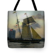 Tall Ship Chasing The Sun Tote Bag