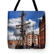 Tall Ship In Gloucester Docks Tote Bag