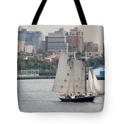 Tall Ships In The Harbor Tote Bag