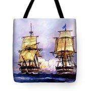 Tall Ships Uss Essex Captures Hms Alert  Tote Bag