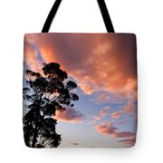 Tall Tree Against A Dramatic Sunset Clouds Sky Tote Bag