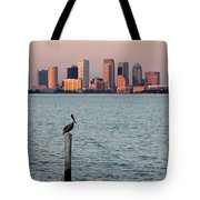 Tampa Skyline And Pelican Tote Bag