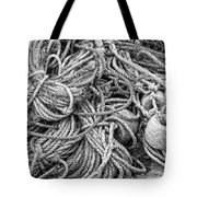 Tangled Rope And Lobster Fishing Gear On Dock Maine Tote Bag