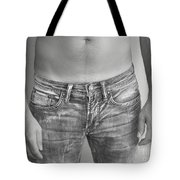 Tanline In Jeans Black And White Tote Bag