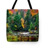 Taquamenon Lower Falls And Observation Deck. Tote Bag