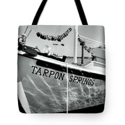 Tarpon Springs Spongeboat Black And White Tote Bag