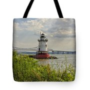 Tarrytown Lighthouse And The Tappan Zee Bridge Tote Bag