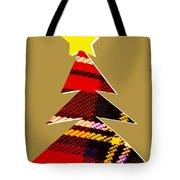 Tartan Christmas Tree On Gold Tote Bag