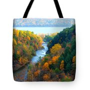 Taughannock River Canyon In Colorful Autumn Ithaca New York Panoramic Photography  Tote Bag