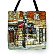 Taverne La Chic Regal Pointe St.charles Jazz Bar Montreal Paintings Winter Street Scene Original Art Tote Bag