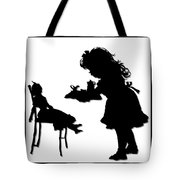 Tea Party Dolly Silhouette Tote Bag