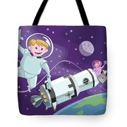Tea Time Space Walk Tote Bag